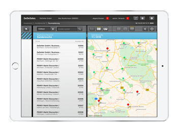 Customer visits, tour planning, map view: Keep an overview with DeDeSales.